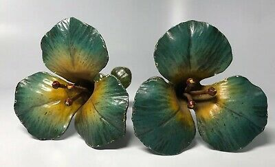 Beautiful Old Antique Painted Cast Iron Flower Curtain Tie Backs Blue & Yellow