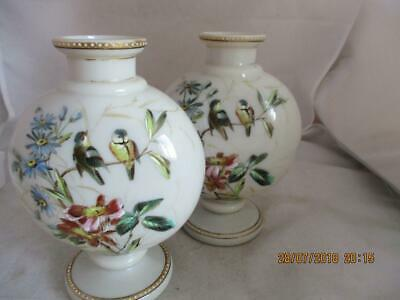 19Th Century Fine Hand Painted Opaline Vases