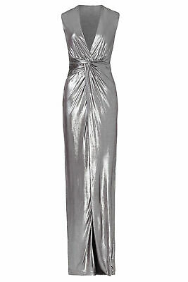 67cedc67ba595a Halston Heritage Silver Women's Size Small S Twist Front Gown Dress $395-  #399
