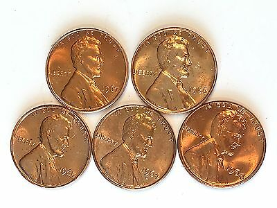 Five Piece Lot of Uncirculated Lincoln Cents 1964, 64-D, 65, 66, 67, #B788