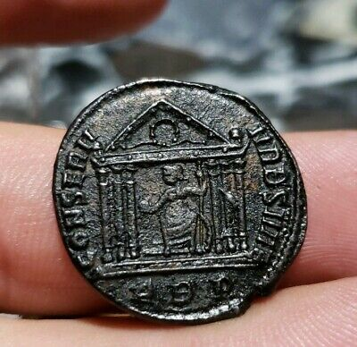 Maxentius 306-312 AD.Constantine the Great Enemy Ancient  Coin Temple of Roma .