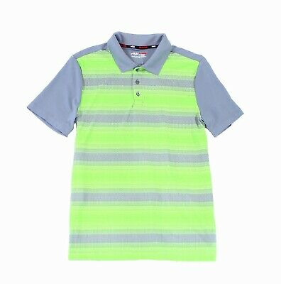 9b81411b35dd3 Fila NEW Green Mens Size Small S Striped Front Textured Polo T-Shirt $30 #