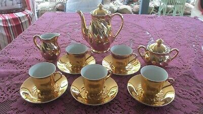 Vintage Gold Coffee Pot, Milk Jug ,Sugar Bowl & Cups Saucers & Plates Sets x 5,