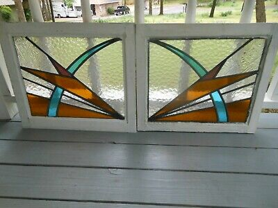 PLA-313 Pretty Art Deco Leaded Stained Glass Windows F/England 2 Windows 1 Price