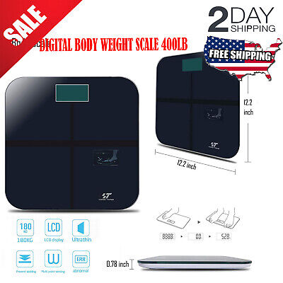 Digital Body Weight Scale 400lb Electronic Bathroom Fitness Health Temperature