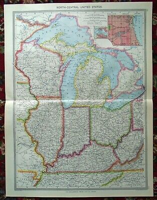LARGE Antique MAP ~ UNITED STATES (NORTH CENTRAL) ~ HARMSWORTH c1900
