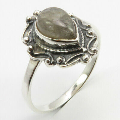 Solid Sterling Silver Labradorite Antique Look Ring Size 10.25 Gems Jewelry