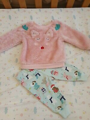 Boots Mini Club Fluffy Warm Pyjamas Pjs Girl 6-9 Months Pink