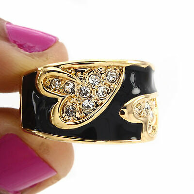 14K Rose Gold Over Round Cubic Zirconia  &  Black Enamel Band Ring Size 5.50