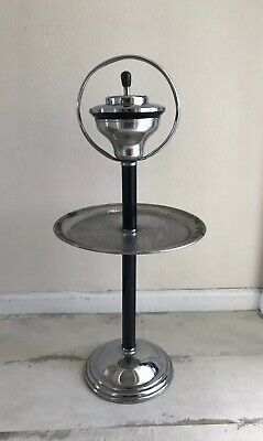Art Deco Chrome Smoking Stand With Intergral Tray