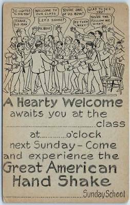 """Vintage Sunday School RALLY DAY Postcard """"A Hearty Welcome Awaits You"""" Unused"""