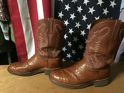 ffb7166ff94 LUCCHESE 2000 BROWN-TAN Full Quill OSTRICH Roper Cowboy BOOT 10 EE 2E Crepe  Sole