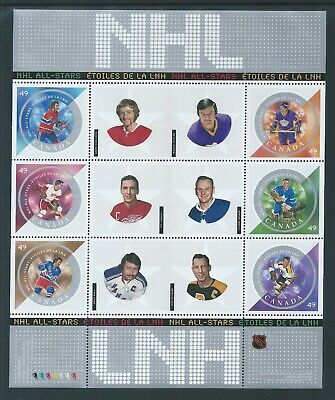 Canada NHL All Stars - 5 #2017 Full Pane MNH *Free Shipping*