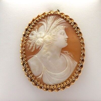 Vintage 14k Gold Ibsen Carved Shell Cameo Flora Large Brooch Pin Pendant  18.3gr