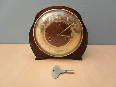 Vintage Smiths Wooden Mantle Clock - With Smiths Key