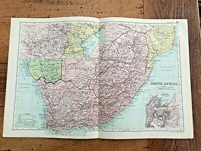 1890 large double page map - g.w. bacon the strand london . south africa !