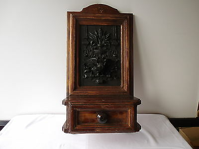 ANTIQUE GERMAN FINE CARVED EAGLE WALL CABINET WITH DRAWER 3 D Art app.1880/1900