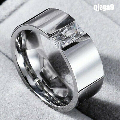 Men Women's 8mm Smooth Single CZ Band 316L Stainless Steel Silver Ring Jewelry