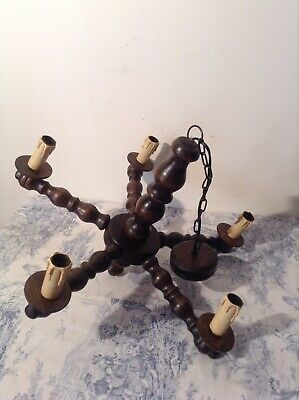 Vintage French Turned Wooden Farmhouse 5 Arm Chandelier Ceiling Light (3853)