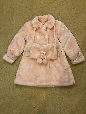 d2be3a5a5 GIRLS COUCHE TOT Pink 'Fun Fur' Coat And Matching Hand Muff Age 7-8 ...