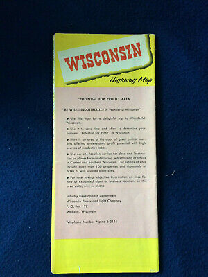 Special issue 1959 Wisconsin Official Highway Map for Wisconsin Power and Light