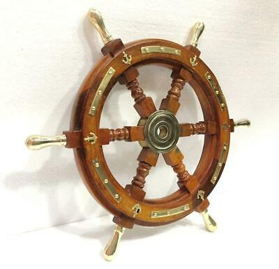 Ship Wheel Solid Wood 18 Inches Anchor & Strips with Brass Handles Wall Decor
