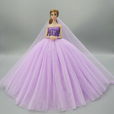 Fashion Handmade Princess Dress Wedding Clothes Gown+veil for 11.5in.Doll #10