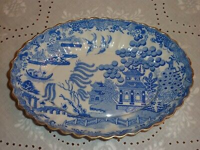 Antique (1875-90) Copeland Spode Blue & White Willow Pattern Fluted Oval Dish