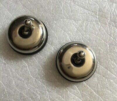 PAIR Hobby Mini Toggle Switches Chrome Vintage  Switchs Art Deco 33mm Wide