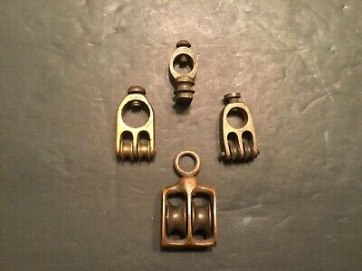Lot of 4 Vintage Antique Maritime Solid Brass Pulleys