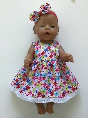 "DOLLS CLOTHES FOR 17"" BABY BORN~CABBAGE PATCH *Floral~Dress~Headband*"