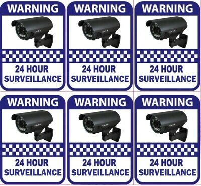 6 PACK Warning CCTV Security Surveillance Camera Sticker Sign 100mm x 80mm