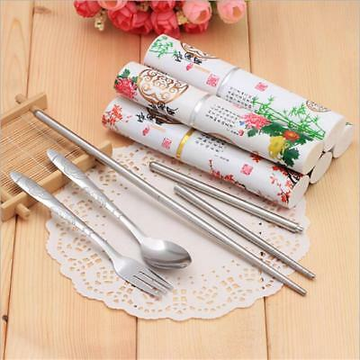 Chinese Style Portable Stainless Steel Tableware Chopsticks Fork Spoon Set FG