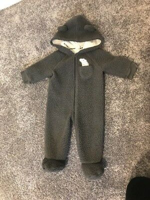 Grey Fleece Hooded All In One -  Ears Age 3-6m playsuit thick zip