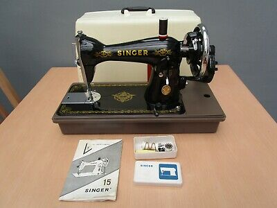 Vintage Singer 15 Nl Hand Crank Sewing Machine In Plastic Carry Case