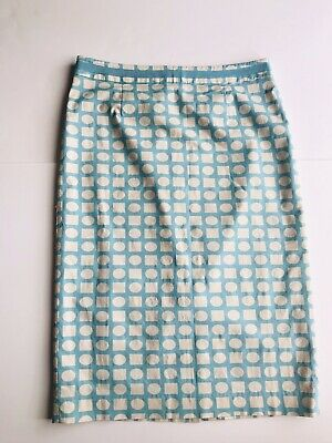 d1f927b9b7 Boden 12 Long Turquoise Blue & White Geometric Print Straight Lined Skirt  Lined