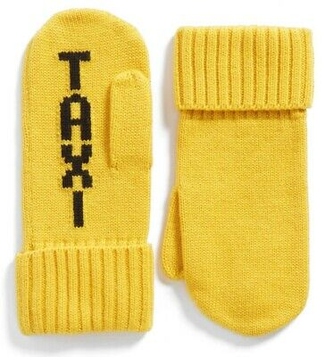 NWT Kate Spade New York Dandelion Yellow Black Knit TAXI Mittens OS One Size