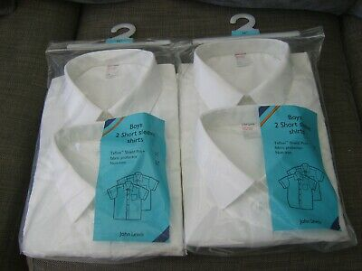 "BNWT John Lewis Pack of 2 Boys Grey Short-Sleeved School Shirts 16.5/"" Collar"