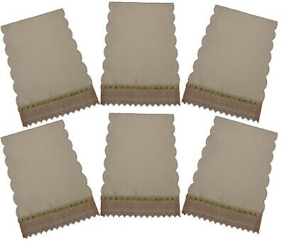 Pack 6 Cream Scalloped Edge Chair Back Covers Schiffli Lace Edge Light.Green
