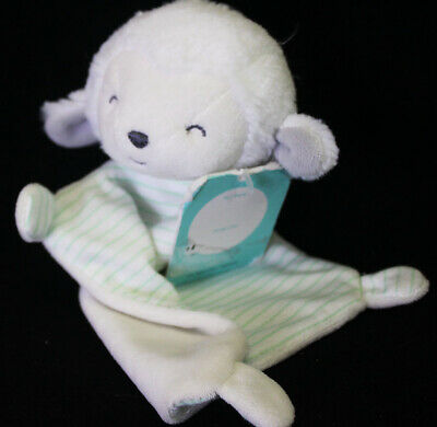 35d0e4324 Precious Firsts by Carter's White LAMB Lovey Security Blanket Green Stripe