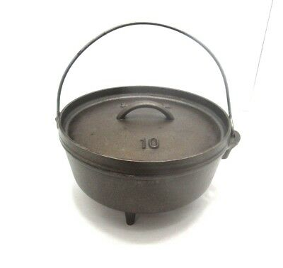 Vintage Lodge Number 10 Camp Cast Iron Dutch Oven 5 Quart  Made In USA