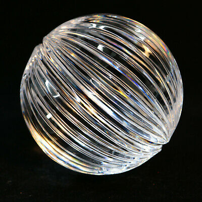"5"" Cut Glass Crystal Ball Sphere Tabletop Objet D'Art Amazing Prism Effect NR!"