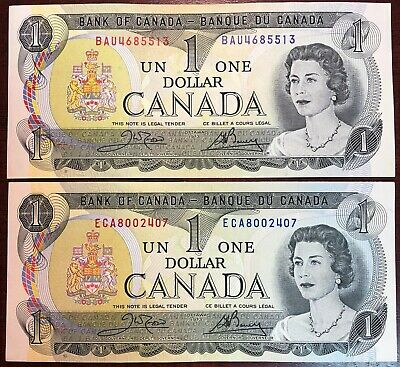 Lot of 2x Bank of Canada 1973 $1 One Dollar Bills - Great Condition