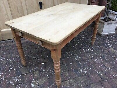 Antique Victorian Rustic Farmhouse Scrub Top Pine Table 136x79cm with Drawer