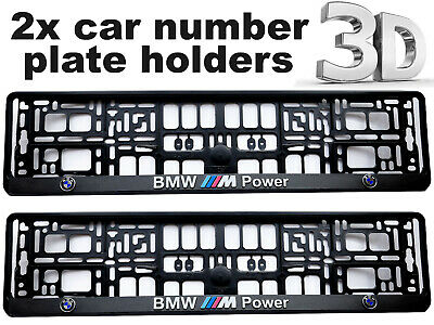 2 x 3D CAR Number Plate Surround Holder Frames BEST FIT for BMW