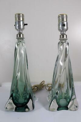 Antique Vintage Murano Art Glass Teal Green Twisted Swirl Table Lamps Boudoir