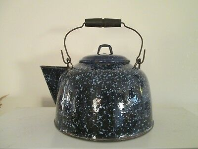Vintage Teapot enamelware Large rusty Blue enamel metal speckle wood handle 6-9