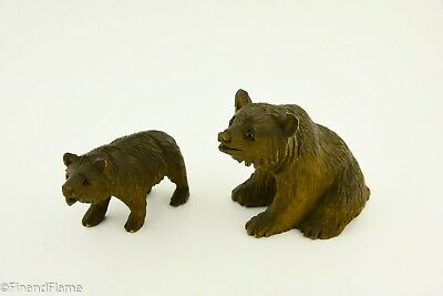 Vintage Lot of 2 Small German Black Forest Wood Bears GH457