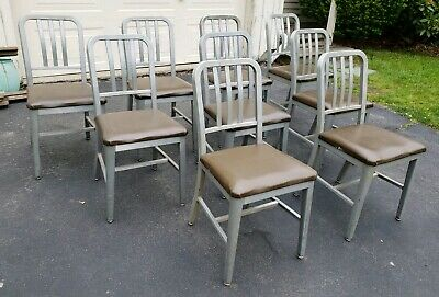 9 Vintage Good Form Brushed Aluminum Chairs emeco mid century modern industrial