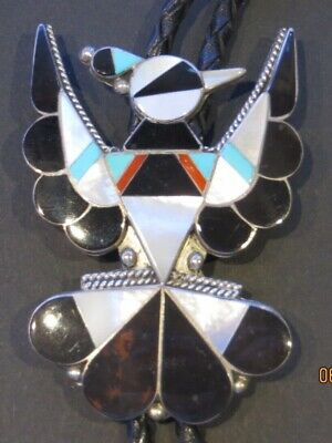 0a5afd56933f Zuni Sterling Silver Inlay Thunderbird Bolo Tie Native American Inlaid Tips